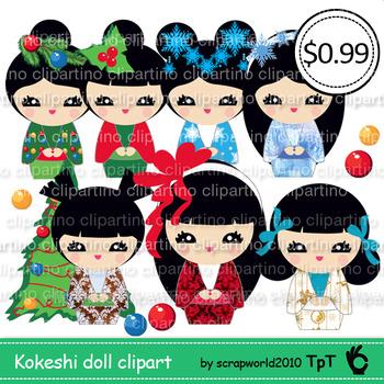 Christmas kokeshi doll clipart