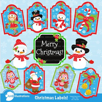 Christmas labels, Santa tags, Gift tags, printable gift tags  AMB-382