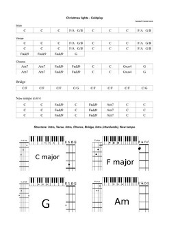 Christmas lights - Coldplay - Lead-sheet for guitar, piano