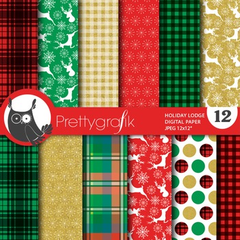 Christmas lodge papers, commercial use, scrapbook papers, holidays - PS765