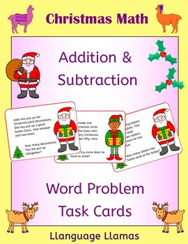 Christmas Math - Addition and Subtraction word problem task cards