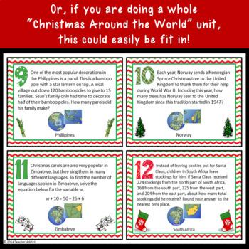 Christmas Math Around the World - Word Problems