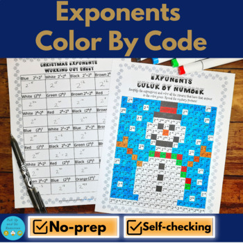 Christmas Math Color by Number - Laws of Exponents / Exponent Rules