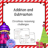 Christmas addition and subtraction - reasoning challenge cards