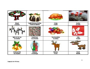 Christmas memory game - English and Spanish - Fun Christmas