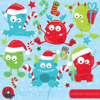 Christmas monsters clipart commercial use, vector graphics, digital - CL751