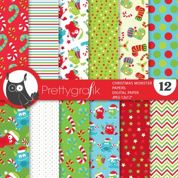 Christmas monsters digital paper, commercial use, scrapbook papers - PS665