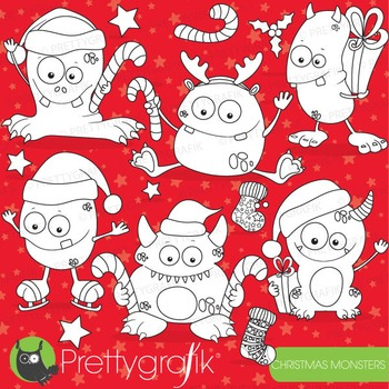 Christmas monsters stamps commercial use, vector graphics,