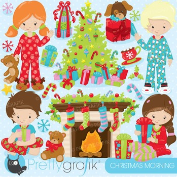 Christmas morning clipart commercial use, vector, digital - CL755