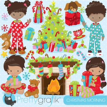 Christmas morning clipart commercial use, vector, digital - CL756