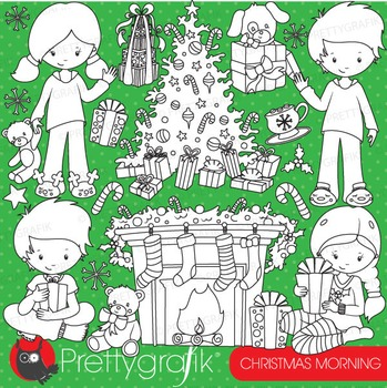 Christmas morning stamps commercial use, vector graphics, images - DS755
