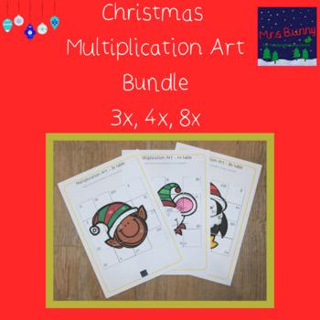 Christmas multiplication revision bundle 3, 4, 8x