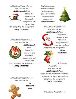 Christmas no Homework gift coupons