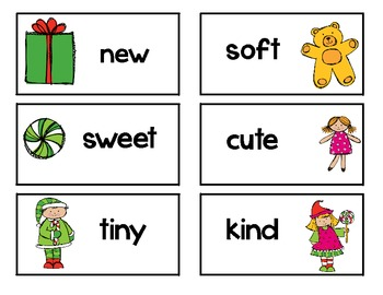 Christmas nouns and adjectives sort *literacy center*