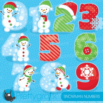 Christmas numbers clipart commercial use, vector graphics, digital - CL933