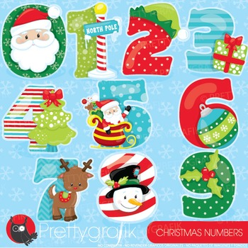 Christmas numbers clipart commercial use, vector graphics,