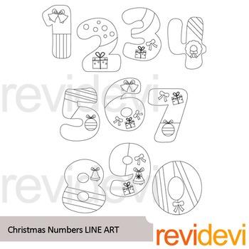 Christmas numbers line art - clipart blackline