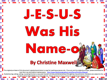 Christmas or Church Activity Jesus Was His Name-o Song and Posters