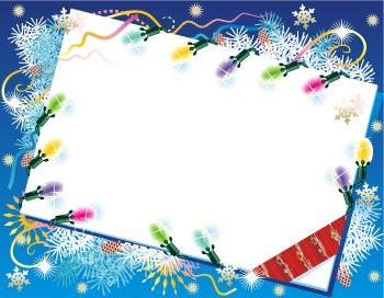Christmas or New Year Card with Christmas Lights, Commercial Use Available