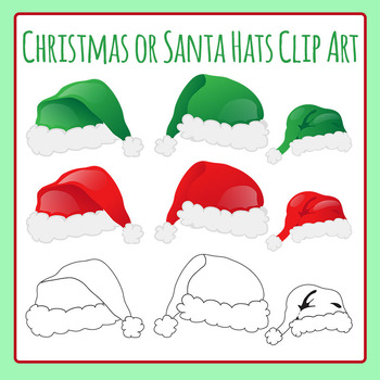 Christmas or Santa Hats Clip Art for Commercial Use