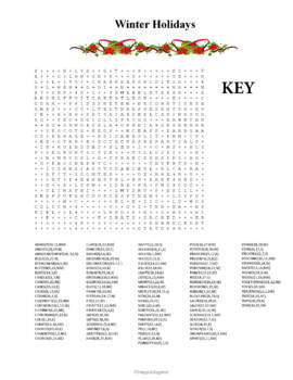 Christmas and New Year Word Search - Winter Holidays
