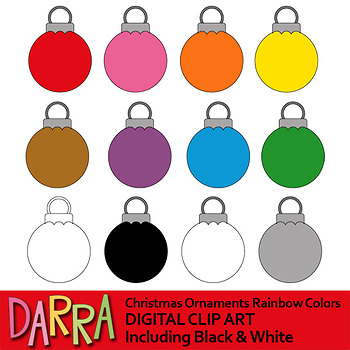 Christmas ornaments clip art rainbow colors