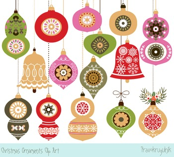 Christmas ornaments clipart, Holiday tree ornaments, Winte