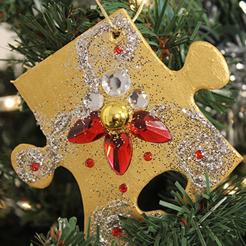 Christmas ornaments made with puzzle pieces