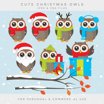 Christmas owl clip art - Christmas owls clip art branch ho