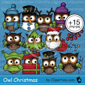 Christmas owl clipart png+jpg 15 files Bundle