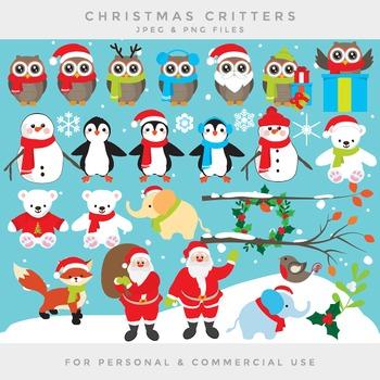 Christmas owls clipart - Christmas clip art penguins polar bear snowman