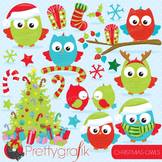 Christmas owls clipart commercial use, vector, digital - CL758