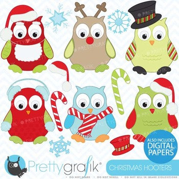 Christmas owls clipart, commercial use, vector graphics - CL370