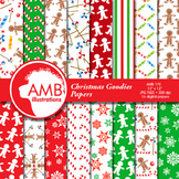 Digital Papers, Christmas Digital Paper and backgrounds, Gingerbread AMB-170