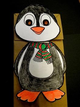 Christmas penguin paper bag puppet pattern