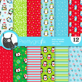 Christmas penguin papers, commercial use, scrapbook papers, patterns - PS895