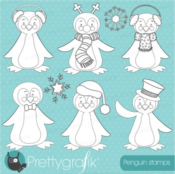 Christmas penguin stamps commercial use, vector graphics,