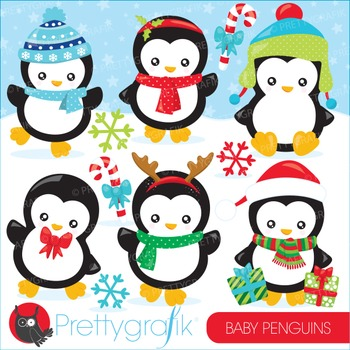 Christmas penguins clipart commercial use, vector graphics