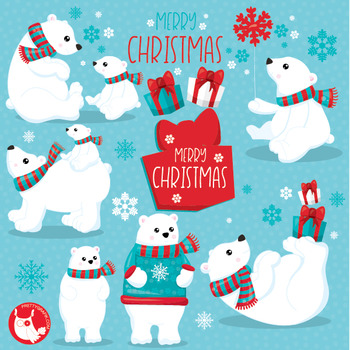 Christmas polar bear clipart commercial use, vector graphics, digital  - CL1048