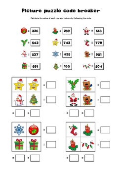 Christmas math pre-algebra picture puzzles 2 x 2