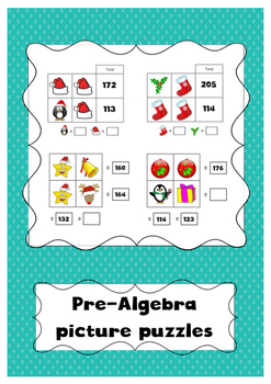 Christmas Math Pre Algebra Picture Puzzles 2 X 2 By Miss Griffiths Shop