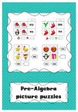 Christmas math pre-algebra picture puzzles 2 x 2