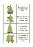 Christmas preposition flash cards and worksheets