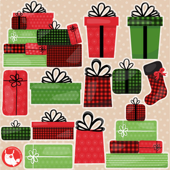 Christmas present characters clipart commercial use, graphics, digital  - CL1197