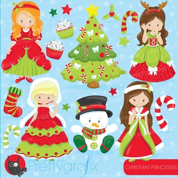 Christmas princess clipart commercial use, vector graphics, digital - CL750