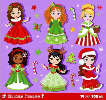 Christmas princesses clipart 3,  christmas girls, digital