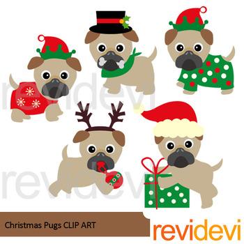Christmas pugs clip art
