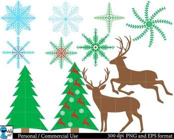 Christmas raindeers Digital Clip Art Graphics 29 images cod83