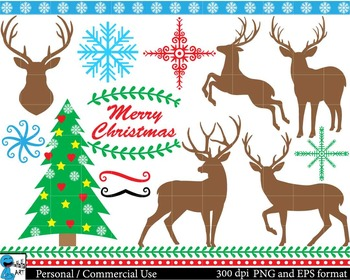 Christmas raindeers Digital Clip Art Graphics 29 images cod83