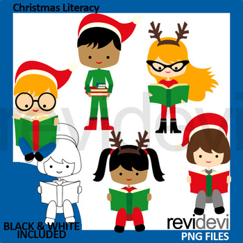 Christmas reading clipart (read a book clip art)